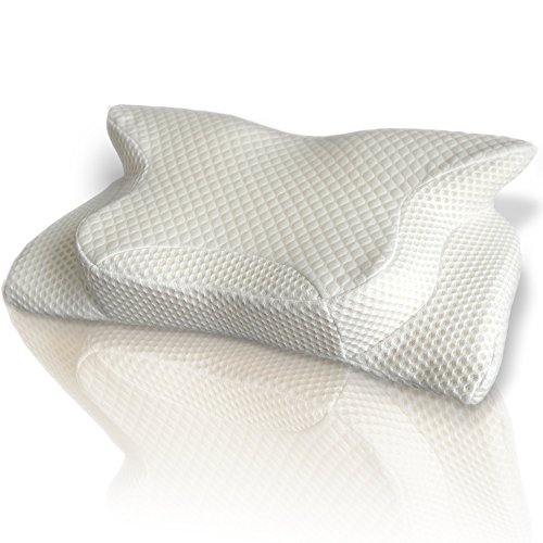 SmartDelux Orthopedic Memory Foam Pillow High Neck Pillow for Sleeping with Pillow Covers - White Big Contour Cervical Bed Queen Pillows for Men Women Boys Girls - Model 4631