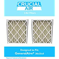 2 Replacements for GeneralAire 20x25x5 14201 & 4501 Pleated Furnace & Air Conditioner Filter, MERV 8, by Think Crucial