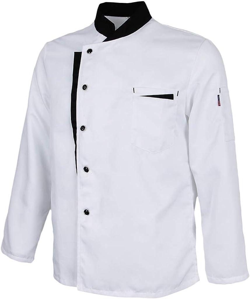 Baoblaze Chaqueta de Chef Mangas Largas Jacket Coat Hotel Camareros Hosteler/ía Cocina Uniforme Tops