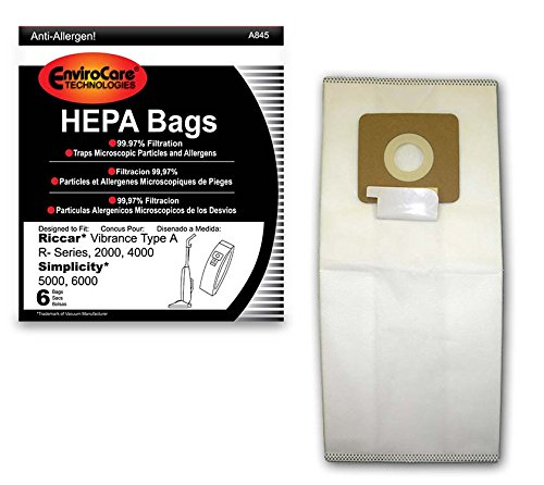 EnviroCare Replacement HEPA Vacuum Bags for Riccar Vibrance Type A R-Series, 2000, 4000, Simplicity 5000, 6000 6 Pack ()