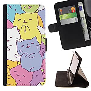 For Sony Xperia m55w Z3 Compact Mini Cute Kittens Drawing Pastel Colorful Style PU Leather Case Wallet Flip Stand Flap Closure Cover