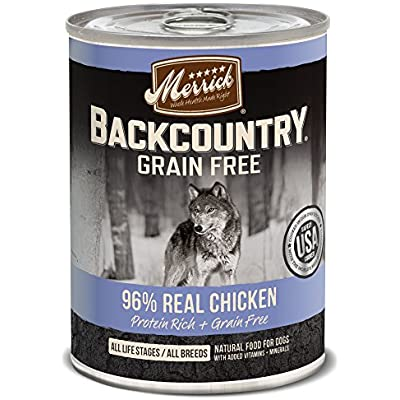 Merrick Backcountry Grain Free 96% - Real Chicken Wet Dog Food, Case Of 12, 12.7 Oz.