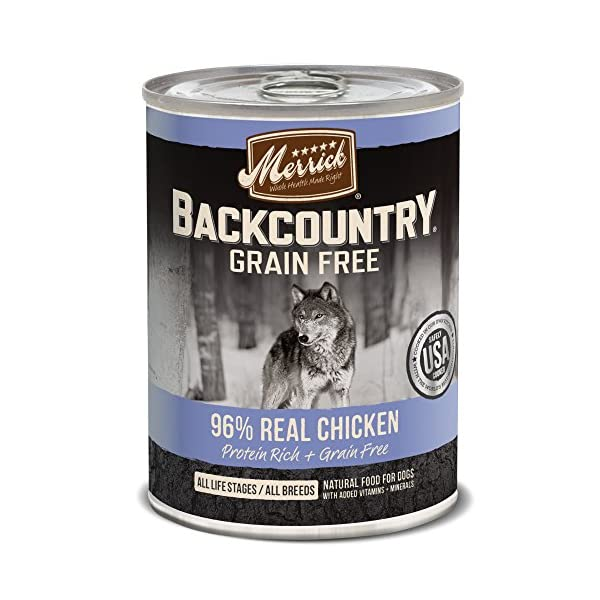 Merrick Backcountry Grain Free 96% – Real Chicken Wet Dog Food, Case Of 12, 12.7 Oz.