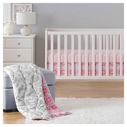 Sabrina Soto Lola Reversible 3 Piece Baby Crib Animals Bedding Nursery Set, Pink Gray ()