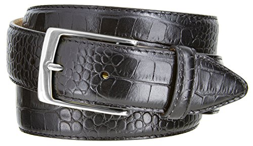 Alligator Dress Belt (Joseph Nickel Finish Buckle Italian Leather Alligator Dress Belt 1-3/8 Wide (Alligator Black, 38))
