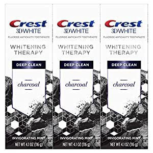 Crest 3d White Whitening Therapy Charcoal Deep Clean Fluoride Toothpaste, Invigorating Mint, 3 Count