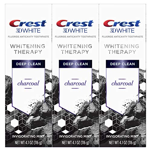 Crest Charcoal 3D White Toothpaste, Whitening Therapy Deep Clean with Fluoride, Invigorating Mint, 4.1 Ounce, Pack of -