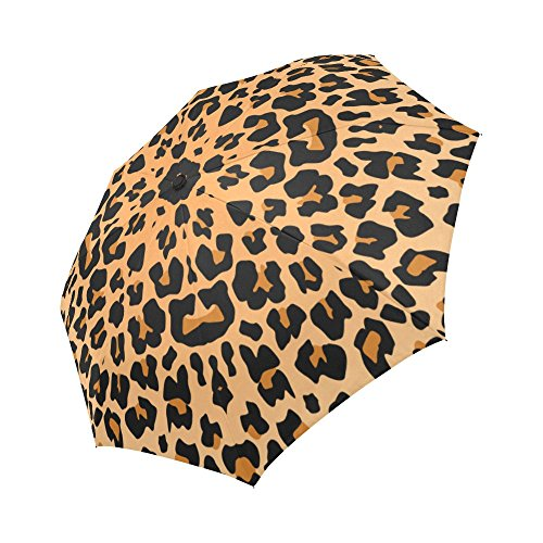 InterestPrint Leopard Skin Windproof Compact One Hand Auto Open and Close Folding Umbrella, Animal Leopard Print Rain & Outdoor Unbreakable Travel Umbrella - (Animal Print Umbrella)
