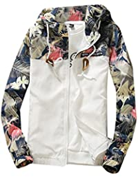 BYBU Men's Floral Print Hooded Windbreaker Jacket Sports Coat