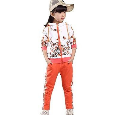 Free Fisher - Chándal - Floral - Manga Larga - para niña Orange ...