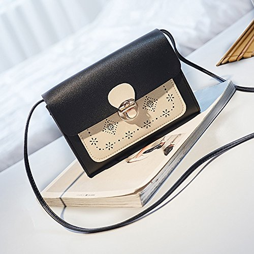 Carved Bag Women Bag Crossbody Phone Purse Mobile Bag Diagonal Small Black Square 5OfqxZfw