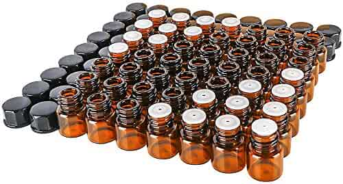50 pack 1 ml 1/4 Dram Mini Amber Glass Essential Oils Sample Bottles with Black Caps for Essential Oils,Chemistry Lab Chemicals,Colognes & Perfumes.3 plastic droppers as gift.