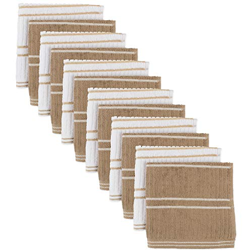 Ribbed Terry Kitchen Dish Cloths (13x13 Set of 12 - Assorted Mocha Brown & White) Absorbent & Durable for Cleaning Countertops, Dusting, or Washing Dishes