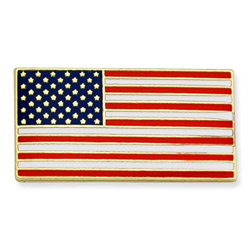 PinMart's Official Rectangle Patriotic American Flag USA Lapel Pin 3/4