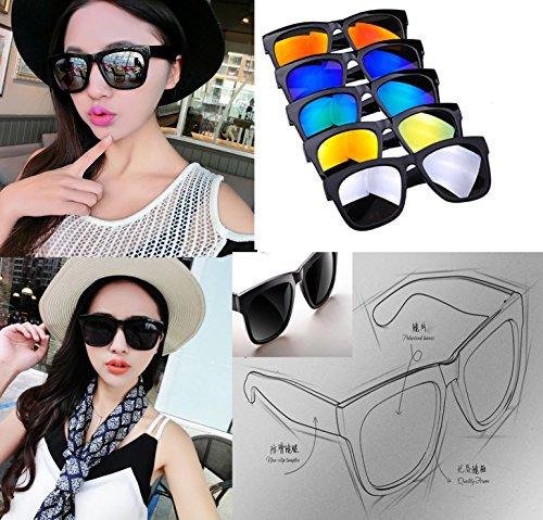AMAZZANG-Women Men Vintage Retro Glasses Unisex Fashion Aviator Mirror Lens Sunglasses (Bike Buoy Mug)