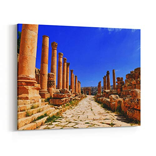 Rosenberry Rooms Canvas Wall Art Prints - Scenic View Ancient GrecoRoman Corinthian Columns On Colonnaded Cardo to The North Tetrapylon in The Historic Roman City of Gerasa in Jerash, (10 x 8 inches)