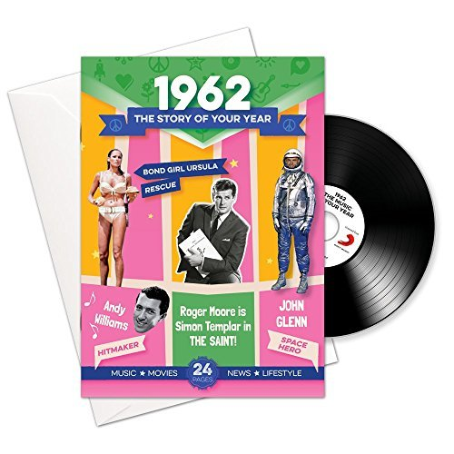 Price comparison product image 1962 BIRTHDAY or ANNIVERSARY Gifts - 1962 4-In-1 Booklet Card and Gift - Story of Your Year ,  Compilation CD with 15 Original Songs & Music Download Option For A Man or Woman