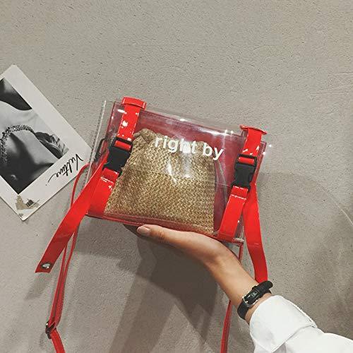 Bolsa de Lentejuela gelatina Color Mujer Retro Bolso Contraste Paquete láser de impresión Tendencia Carta Cuadrada de Transparente Costura pequeña Bolsa A1WES