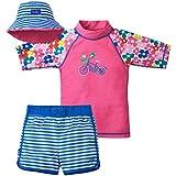 UV SKINZ UPF 50+ Girls 3-Piece Swim Set - Pink Floral Bicycle - 7