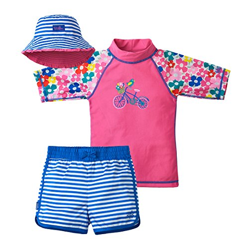 UV SKINZ UPF 50+ Girls 3-Piece Swim Set - Pink Floral Bicycle - 12/18m -