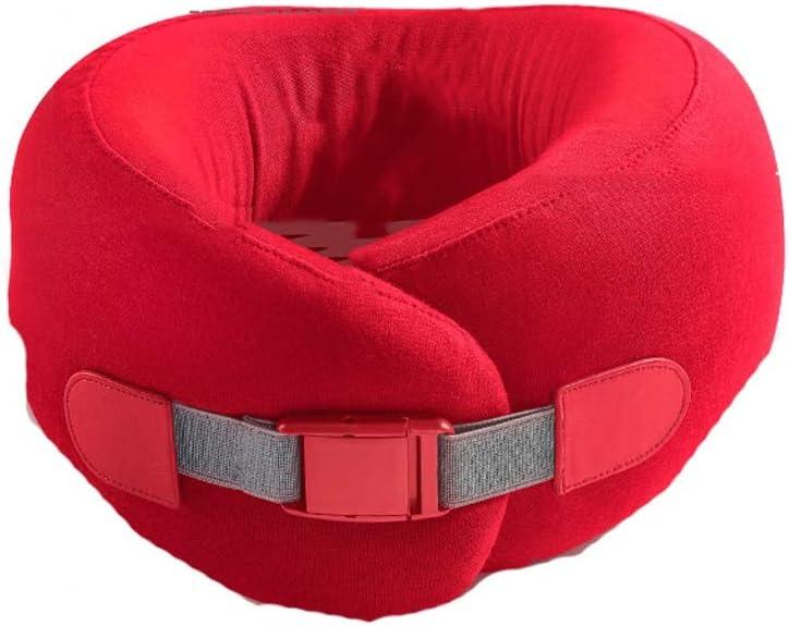 WYH Oreiller de cou en latex doux pour voiture en forme de U Oreiller cervical Oreiller de voyage en forme de U pour étudiant adulte Confortable Rouge