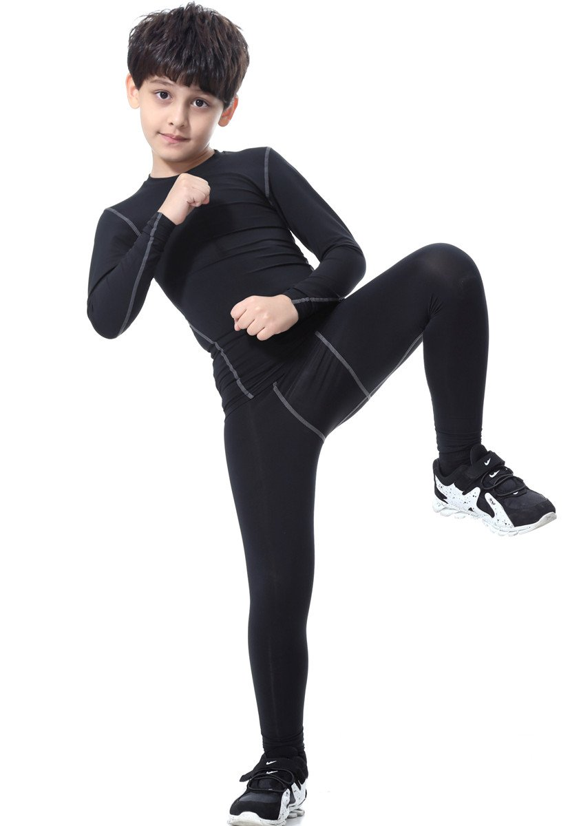 Boys Athletic Base Layer Compression Underwear Set 2pcs Thermal Long John for Kids