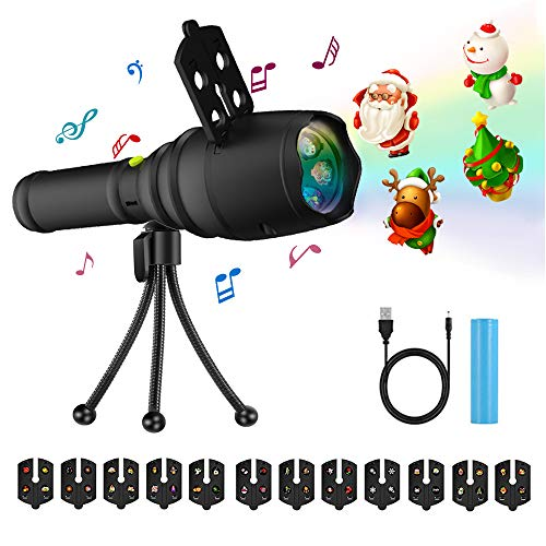 LED Projector Flashlight with Music, ZIUMIER 12 Slides Handheld Projection Holiday Decoration Lights, Portable Rechargeable Battery USB Charging Cable with Tripod Holder for Kids Halloween Christmas