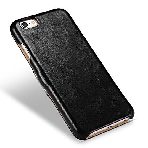 iPhone 6 Coque, Icarer ultra mince Housse Cuir véritable Étui avec forte magnétique Coque pour Apple iPhone 6S (noir)