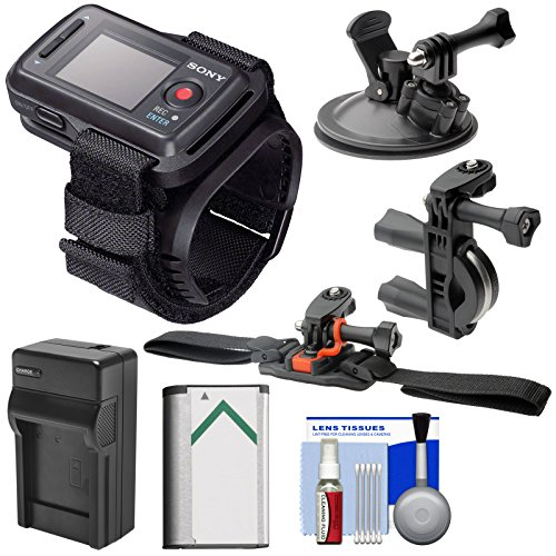 Sony RM-LVR2 Live View Wireless Wristband Remote + Handlebar, Vented Helmet & Car Suction Cup Mounts + Battery/Charger Kit for Action Cam AS20, AS30V, AS100V, AS200V & X1000V -  K-87472-10