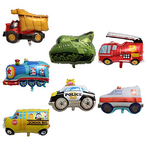 BALONAR 7PCS Train Ambulance Police Car School Bus Fire Truck Tank Foil Balloons Vehicles Balloons for Child Birthday Party Supplies Cute Baby Shower Decorations -