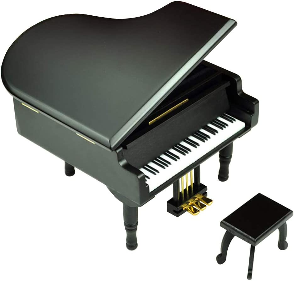 Bankour Play (Can't Help Falling in Love) Wooden Piano Music Box with Sankyo Musical Movement (Black)