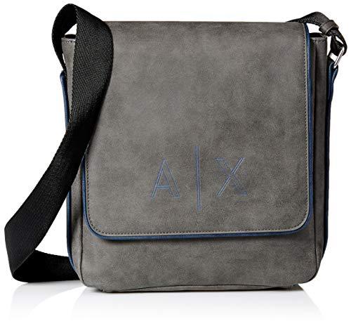 (Armani Exchange Men's Foldover Reporter Bag, Grey/Blue, UNI)