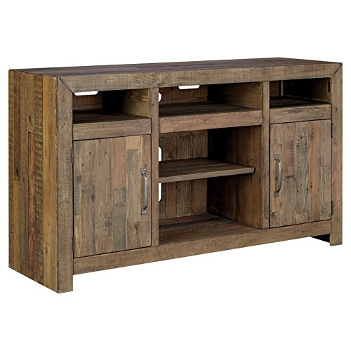 Ashley Furniture Signature Design - Sommerford LG TV Stand w/Fireplace Option, Brown - French Country Oak Armoire