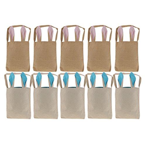 学んだバタフライサミュエルLovoski コットン うさぎのデザイン 手袋 ギフト バッグ 小物入れ 再利用可能 収納用 ブルー+ピンク(各5個)