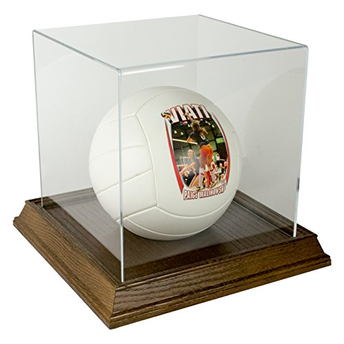 Basketball Display Case with Wood Base - Walnut by Star Innovations