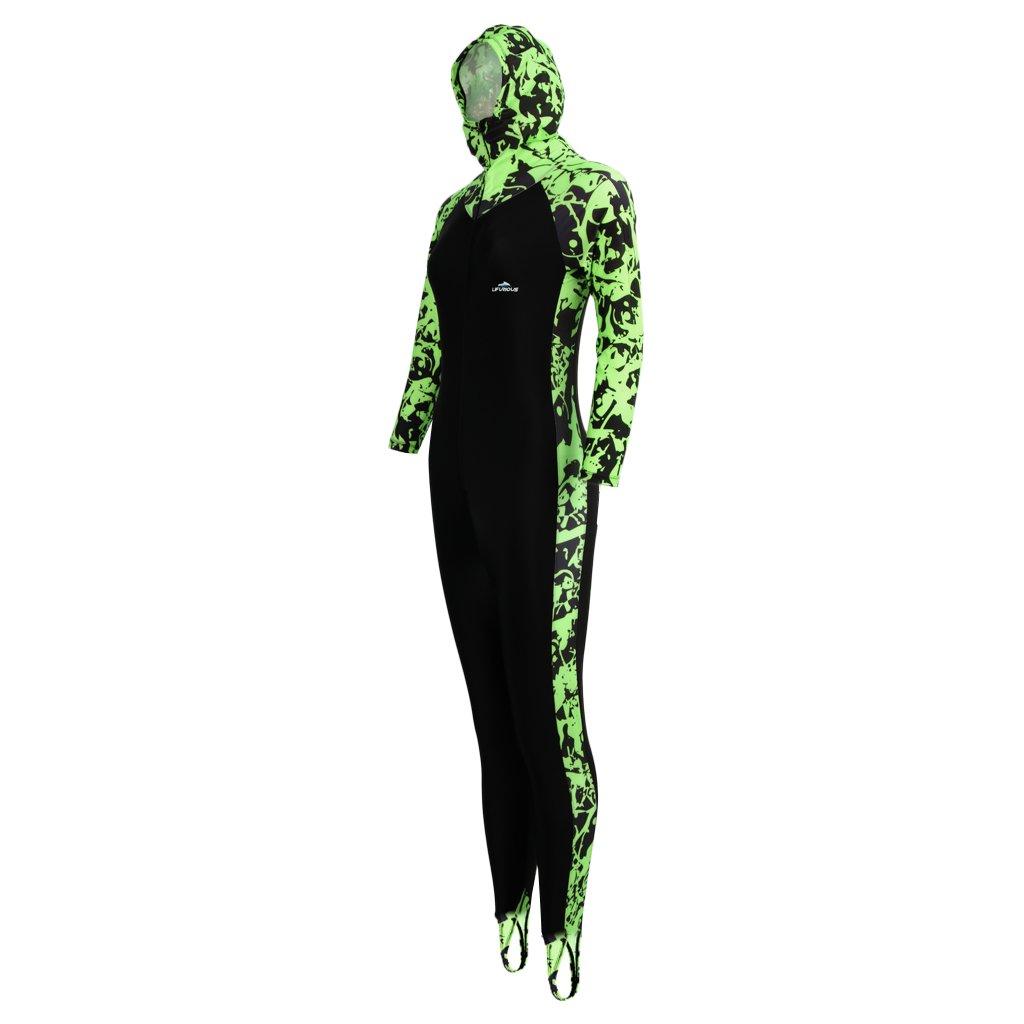 baosityレディースフルボディ水着ラッシュガードフルカバージャンプスーツfor UV Sun保護 B07DP2X4ZY Green + Black Large