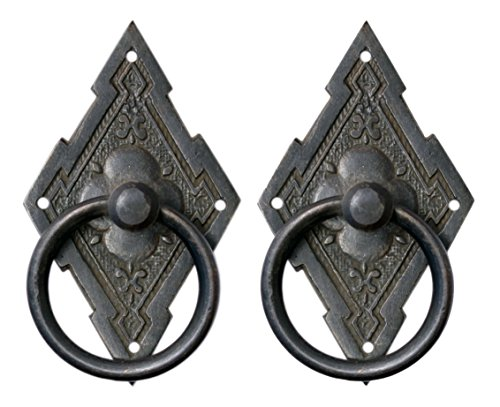 Eastlake Style Ring Pulls for Cabinets and Drawers Antique Finish 2 Pack ()