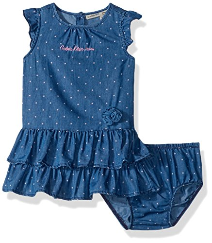 Calvin Klein Baby Girls Dress with Panty Set, Light Blue Denim, 24M ()