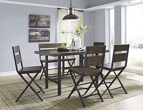 Kavara Medium Brown Color Rectangle Dining Room Counter Table W/ 4 Barstools And Double Barstool