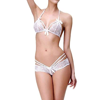 265b5c21ceec Image Unavailable. Image not available for. Color  Gallity Women Sexy Lace  Lingerie Bra Panty Set Halter ...