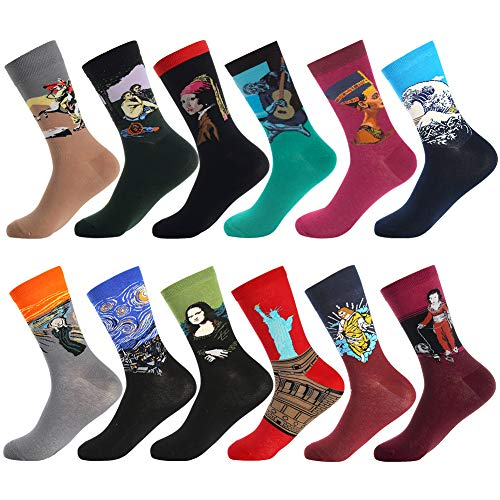 Men's Fun Dress Socks,Colorful Pattern Crazy Novelty Funny Art Dress Socks Pack Funky Crew Socks by Bonangel,Gift for Men (Painting 4)