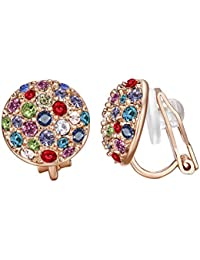 Clip On Earrings with Round Austrian Crystals (18k Rose Gold Plated)