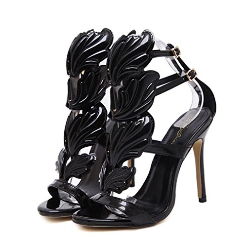 Black Flame Platform Womens Shoes - Women High Heels Sandals, Sexy Summer Open Toe Ankle Shoes with Leaf Flame (5 B (M) US, Black)
