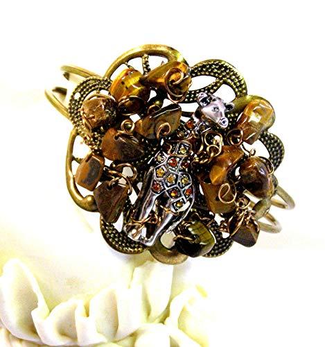 (One of a Kind-Tiger's Eye Gemstone GIRAFFE Cuff Bracelet-Gemstone Bracelet-Giraffe Jewelry-Antique Brass Filigree Cuff Bracelet)