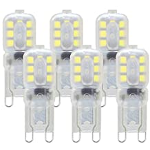 KINDEEP G9 LED Light Bulb, 3W (35W-40W G9 Halogen Bulb Equivalent), Non-Dimmable, Daylight White 6000K, 6-Pack for Crystal Chandelier Sconce Vanity Light