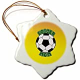 3dRose orn_12410_1 Soccer Mom with Ball Porcelain Snowflake Ornament, 3-Inch