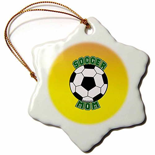 3dRose orn_12410_1 Soccer Mom with Ball Porcelain Snowflake Ornament, 3-Inch by 3dRose