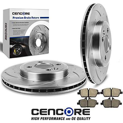 (Front Kit ) Cencore Front Left Right Kit 2 pcs Drilled Slotted Brake Rotors & 4 pcs Brake Ceramic Pads for 2007 2008 2009 2010 2011 2012 2013 2014 2015 Mini Cooper 4 Lug (Slotted Left Rotor)