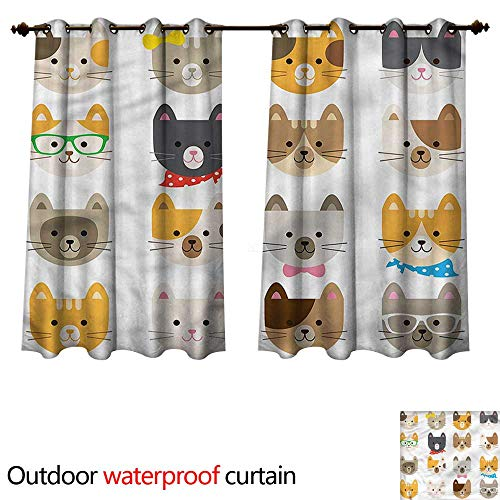 (cobeDecor Animals Outdoor Curtains for Patio Sheer Cats Costume with Glasses W108 x L72(274cm x)