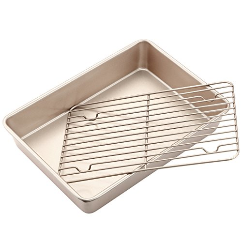 CHEFMADE Roasting Pan with Rack, 13-Inch Non-Stick Rectangular Deep Dish Oven-BBQ Bakeware, FDA Approved for Oven Baking (Champagne Gold) ()
